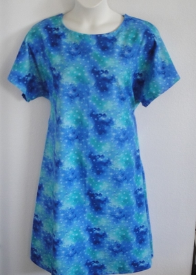 Blue/Green Stars Flannel Nightgown - Orgetta