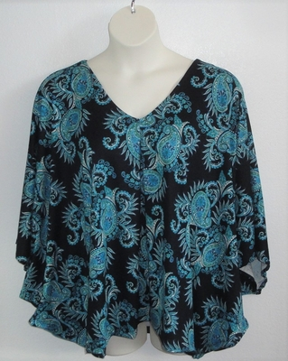 Kiley Side Opening Shirt - Teal on Black Paisley | Side Opening Shirts