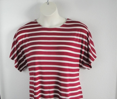 Tracie Shirt - Cranberry Stripe Rayon Knit | Short Sleeve Shirts