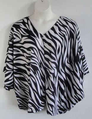 Black/White Zebra Post Surgery Side Opening Shirt - Kiley