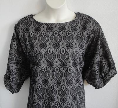 Libby Shirt - Black/Gray Lace Fleur Rayon/Spandex   3/4 Sleeve Shirts