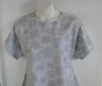 Gray Snowflakes Flannel Post Surgery Shirt - Tracie