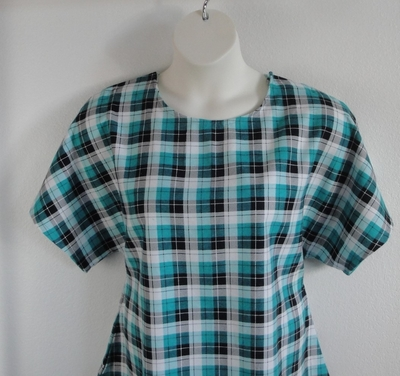 Teal/Black Plaid Flannel Post Surgery Shirt - Tracie