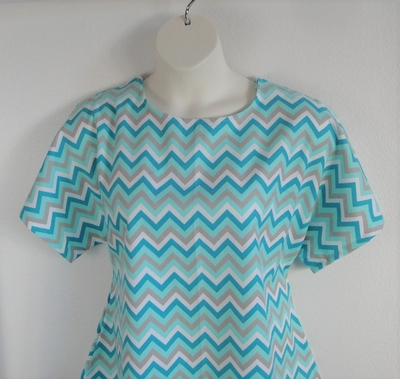 Teal Chevron Flannel Post Surgery Shirt - Tracie
