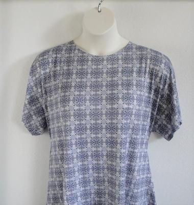 Tracie Shirt - Denim Blue Medallion Rayon Knit   Short Sleeve Shirts