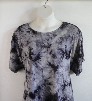 Tracie Shirt - Black/Gray Tie Dye Rayon Knit | Short Sleeve Shirts