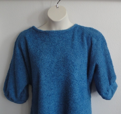 Medium Blue Chenille Fleece Post Surgery Sweater - Jan