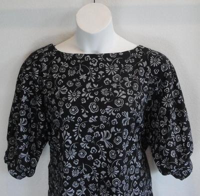 Libby Shirt - Black/Gray Floral (M & XL Only) | 3/4 Sleeve Shirts