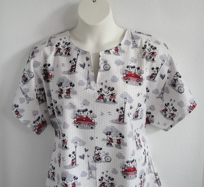 Gracie Shirt - Red/Black Paris Cartoon | Woven Fabrics