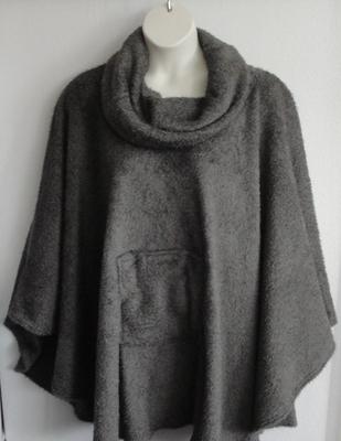Riley Cape/Poncho - Gray - Chenille Fleece Sweater copy   Outerwear