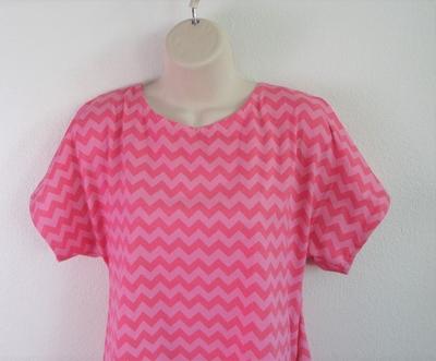Tracie Shirt - Pink Chevron Cotton Knit (Size XS only) | Knits