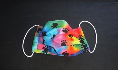 Tie Dye Paw Prints Face Mask