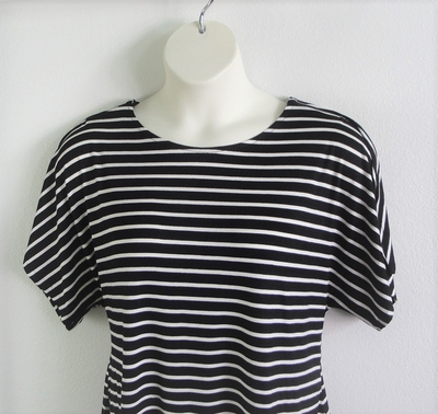 Tracie Shirt - Black Stripe Rayon Knit | Knits