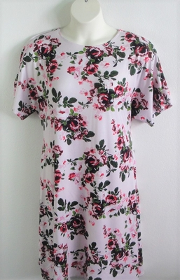 Orgetta Nightgown - Light Pink Floral Rayon Knit | Knit Gowns