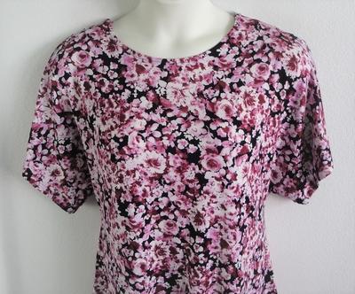 Tracie Shirt - Black/Pink Floral Rayon Knit | Knits