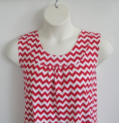 Sara Shirt - Red/White Chevron Cotton Knit | Cotton / Rayon