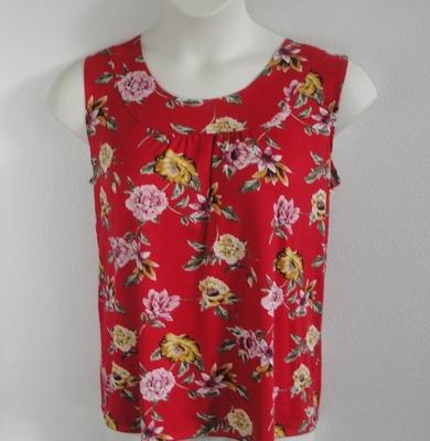Red/ Yellow Floral Rayon Post Surgery Shirt - Sara
