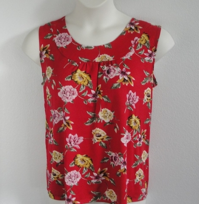 Sara Shirt - Red/Yellow Floral Rayon Knit | Cotton/Rayon Blend