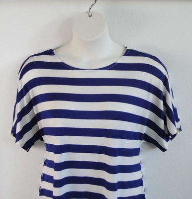 Tracie Shirt - Royal/White Stripe Cotton Blend Knit | Short Sleeve Shirts