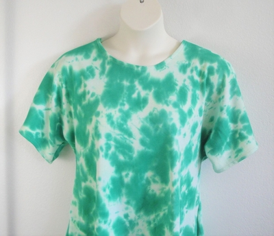 Tracie Shirt - Green Tie Dye Cotton Knit | Short Sleeve Shirts