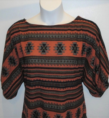 Jan Sweater - Orange/Brown Aztec Geometric Sweater Knit | Sweaters