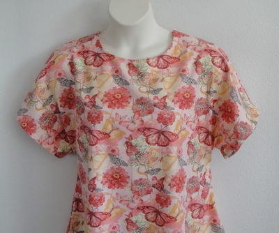 Coral/Yellow Butterfly Flannel Post Surgery Shirt - Tracie