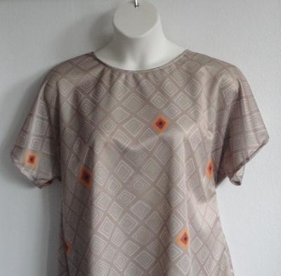 Tracie Shirt - Tan Geometric Wickaway | Short Sleeve Shirts