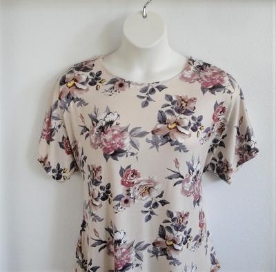 Tracie Shirt - Tan Floral Rayon Knit | Short Sleeve Shirts