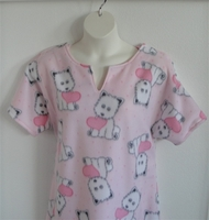 Image Abby FLEECE Nightgown - Pink Dogs and Hearts