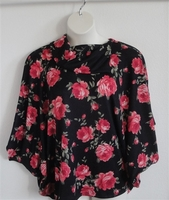 Image Emily Side Opening Sweater - Black/Coral Rose