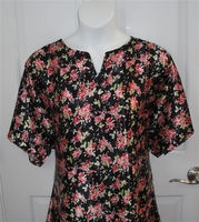 Image Erin Nightgown - Pink Floral on Black Silky