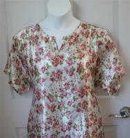 Image Erin Nightgown - Pink Floral on White Silky