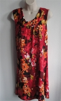 Image SECOND -- Size L --Heidi Nightgown - Large Red/Orange Floral Jersey
