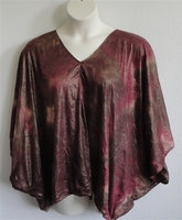 Image Kiley Side Opening Shirt - Burgundy/Gold/Brown Batik