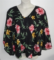 Image Kiley Side Opening Shirt - Black/Pink/Yellow Floral