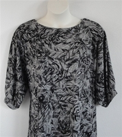 Libby Shirt - Black/Gray Leaves Acetate Blend Knit
