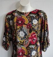 Image Libby Shirt - Red/Gold/Black Floral Poly Jersey