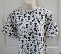 Image Orgetta FLANNEL Nightgown - Black/White Furry Friends Cats