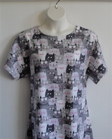 Image Orgetta FLANNEL Nightgown - Gray Comic Cats