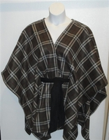 Image Shandra FLEECE Cape - Olive Plaid