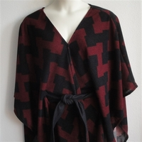 Image Shandra Cape - Red/Black Chevron Sweater Knit