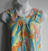 Image Sara Shirt - Teal/Orange Tropical Cotton Knit