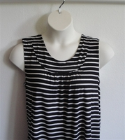 Image Sara Shirt - Black/White Stripe Rayon Knit