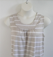 Image Sara Shirt - Tan/White Stripe Rayon Knit