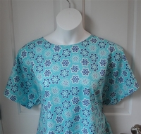 Image Tracie Shirt - Turquoise Floral Woven Cotton