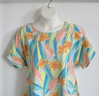Image Tracie Shirt - Teal/Yellow/Orange Tropical Cotton Knit