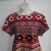 Image Tracie Shirt - Red Aztec Cotton Knit