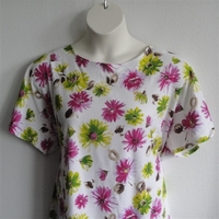 Image Tracie Shirt - Pink/Green Floral Cotton Knit