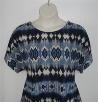 Image Tracie Shirt - Blue Geometric Poly Knit