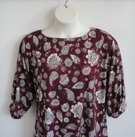 Image Libby Shirt - Burgundy Paisley Brushed Rayon Knit